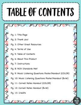 Music Listening Activity - With Cornell Notes! (Grades 4-10)