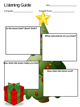 Music Listening Guides - Winter, Christmas, Snow, Santa, Candy Cane, themes