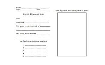Music Listening Log Sheet