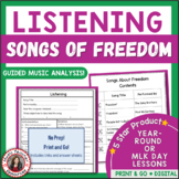 Music Listening: Music Analysis Worksheets for SIX Songs About FREEDOM