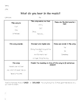 Music Listening Worksheet
