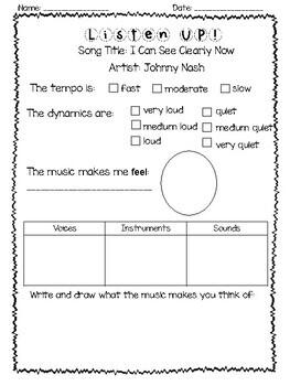 Music Listening Worksheets for Lower Elementary