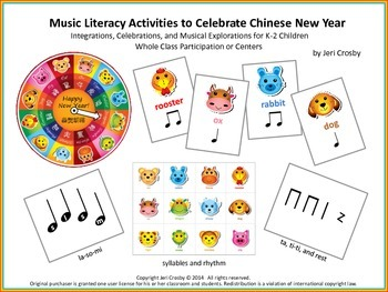Music Literacy Activities to Celebrate Chinese New Year (ta, ti-ti, rest, m-s-l)