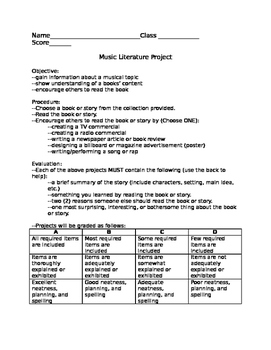 Music Literature Project--creative book report about music
