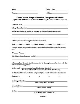 Music, Lyric, & Artist Evaluation Worksheet