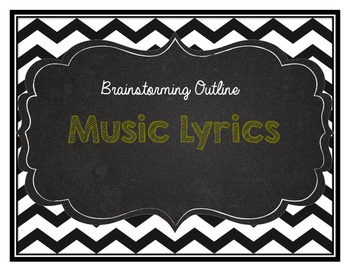 Music Lyric Response to Literature Outline/Brainstorm sheet