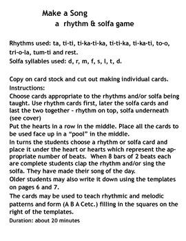 Music: Make a Song - a rhythm & solfa game (using Kodaly based syllables)