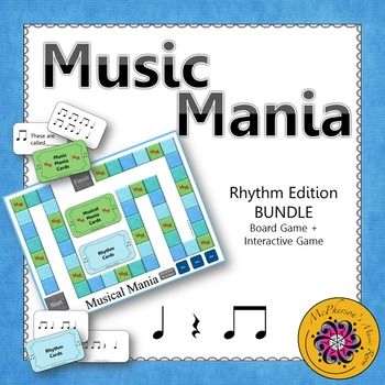 Music Mania Rhythm Edition Eighth Notes BUNDLE {Board Game + Interactive Game}