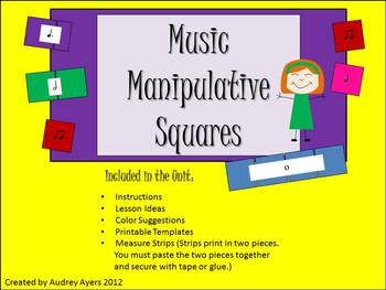 Music Manipulative Squares -Elementary Center Activity with note values