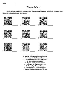 Music Match QR Code Worksheet