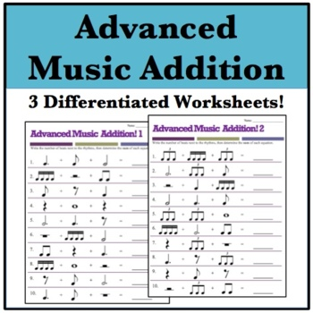 math worksheet : music math 3 advanced addition worksheets  dotted quarter  : Advanced Addition Worksheets