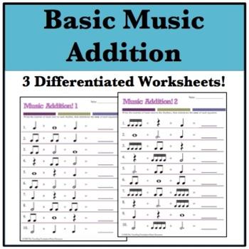 music math addition worksheets  basic rhythms and rests  tpt