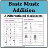 Music Math: Addition Worksheets! (3) Basic Rhythms and Rests