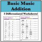 Music Math: Addition Worksheets! (3) Basic Rhythms and Rests