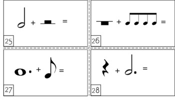 Music Math Note Value Cards