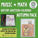 Music + Math: Rhythm Addition Coloring Pages ~ Autumn Fall Pack