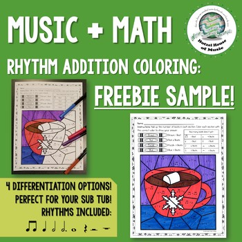 Music + Math Rhythm Addition Coloring Pages Winter FREEBIE Distance Learning