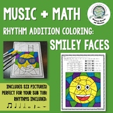 Music + Math: Rhythm Addition Coloring Pages ~ Smiley Face Emojis