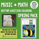Spring Music Rhythm Math Coloring Pages