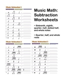 Music Math: Subtraction Worksheets! (3) Basic Rhythms and Rests