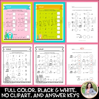 Music Math Worksheets with Llamas MEGA Set