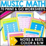 Music Math Worksheets with Llamas MEGA Set