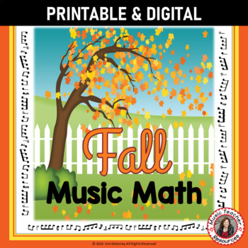 Fall Music Worksheets: 24 Music Math Activities with a FALL/AUTUMN Theme
