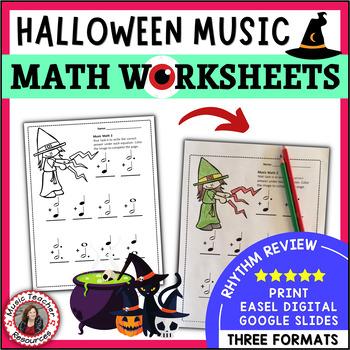 Music Math:  24 Halloween Music Math Worksheets