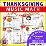Thanksgiving Music Activities: 25 Music Math Worksheets