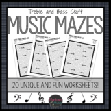 Music Maze Worksheets: Treble and Bass Staff