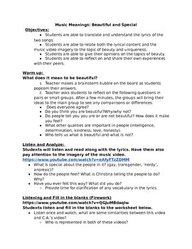 Music Meanings ESOL Lesson Plan: What makes you special?