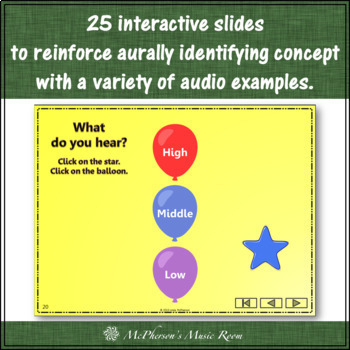 Music Melody – What do you hear: high, middle or low? Interactive Game