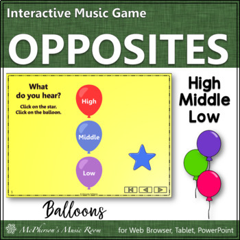 High Low Middle Music Opposite Interactive Music Game {balloons}