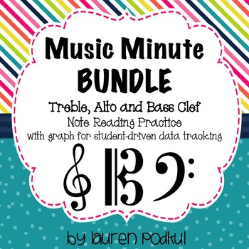 Music Minute BUNDLE - Treble, Alto, and Bass Clef Note Reading Practice