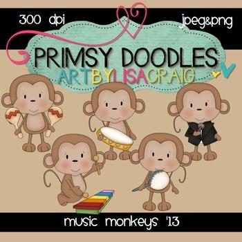 Music Monkeys 300 dpi clipart