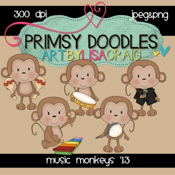 Music Monkeys 300 dpi clipart