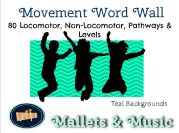 Music Movement Word Wall - Locomotor, Non-Locomotor, Pathways & Levels