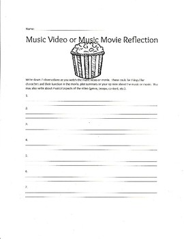 Music Movie or Music Video Reflection