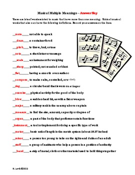 Music Multiple Meaning Vocabulary