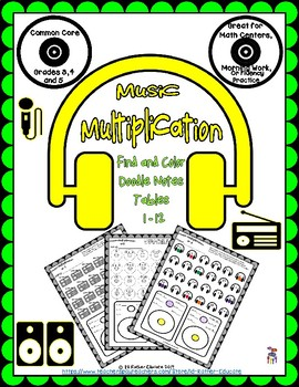 Music Multiplication, Find and Color Doodle Notes  Tables 1-12