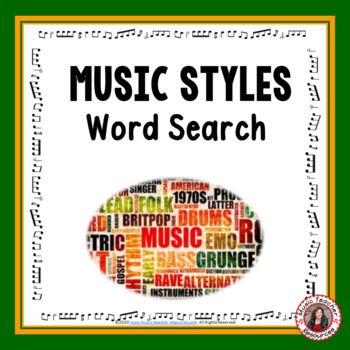 Music Word Search: Music Styles Word Search: Music Quiz