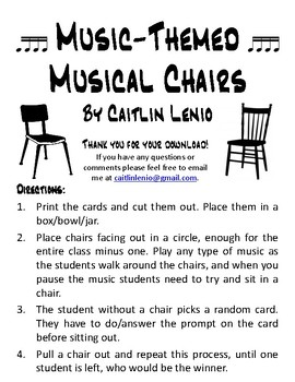 Music-Themed Musical Chairs