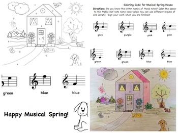 Music: Musical Spring House Color Sheet - Treble Clef Notes