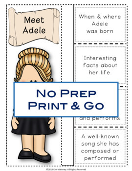 Music: Musicians - ADELE: Music Listening and Research Foldables