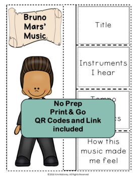 Music: Musicians - Bruno Mars: Music Listening and Research Foldables
