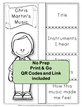 Music: Musicians - Chris Martin: Music Listening and Research Foldables