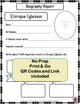 Music: Musicians - Enrique Iglesias: Music Listening and Research Foldables