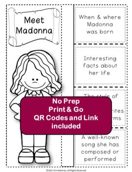 Music: Musicians - MADONNA: Music Listening and Research Foldables