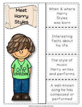 Music: Musicians - Harry Styles: Music Listening and Research Foldables