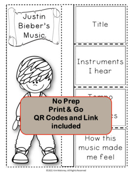 Music: Musicians - Justin Bieber: Music Listening and Research Foldables